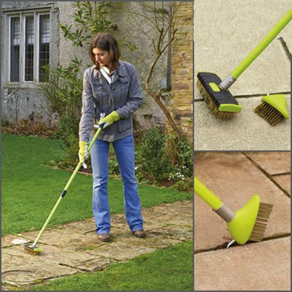 telescopic extendable handle patio decking paving block garden weed clean tool