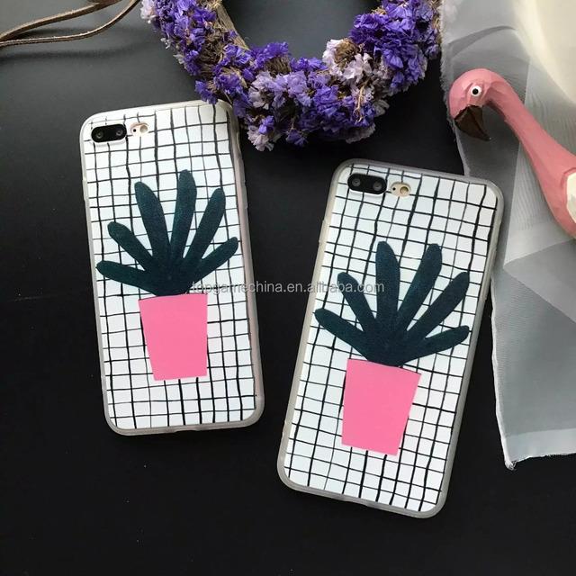 South Korea Cactus Silk Grain PC + TPU Case for iPhone 7 7 Plus Smart cover case