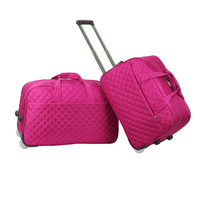 Quilting diamond lattice cotton fabric trolley duffel Korea style travel bag,roller wheeled duffle weekend pilot travelling bag