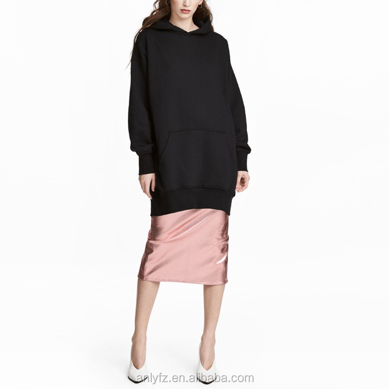 Anly wholesale clothing cotton polyester bland over size pullover long hoodie for female