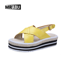 new arrival back strap buckle leather yellow ladies sandals attractive style flat women shoes