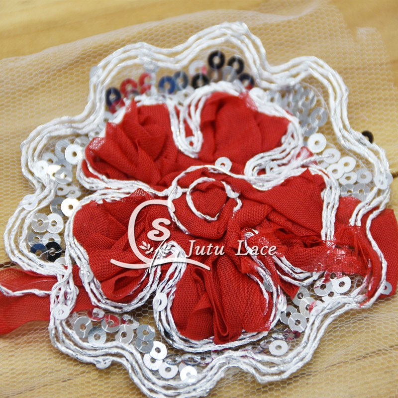 5'' shabby chiffon flowers with sequin , sequin chiffon flowers for baby hair accessories baby headband