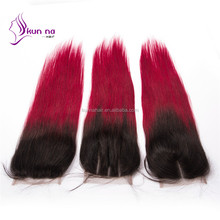 kunna hair lace closure alibaba best sellers virgin Indian hair extension ombre color T1b burgundy