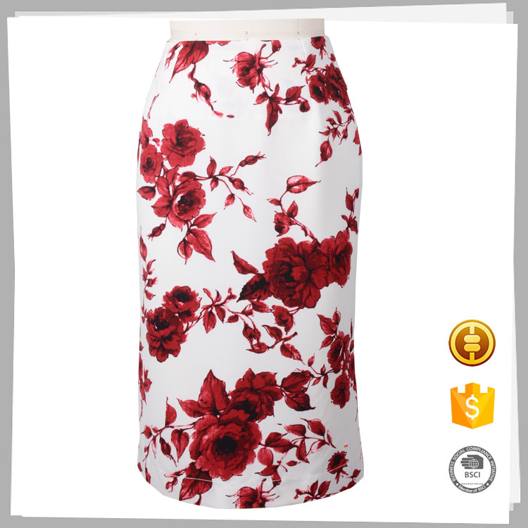 Design your own fashion women printed floral pencil skirt