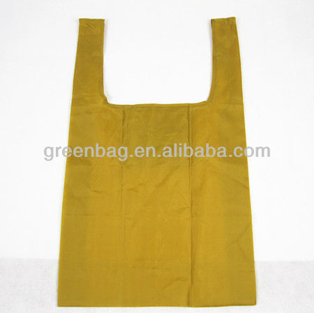 Yellow nylon Folded bag With Small Pocket, 210D folding shopping bag, nylon folding bag