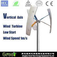 300W Vertical Wind Generator ,low wind speed working,light weight,C type frp wind blades