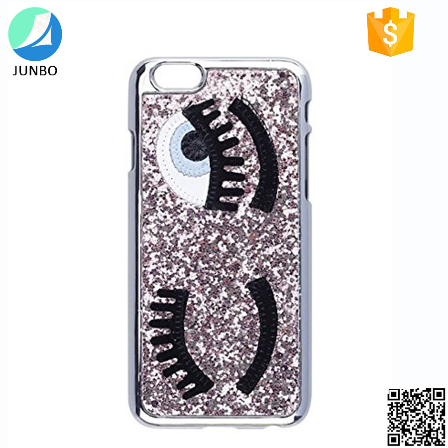 Popular funky phone case for iphone 6 bling eyelesh embroidery case for smartphone