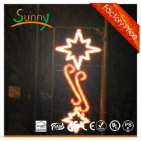 2015 High- quality Christmas decorative light/led motif light pole with star