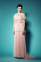 Prom dress 2014 new fashion real picture pink/peach color chiffon formal dress with jacket evening dress