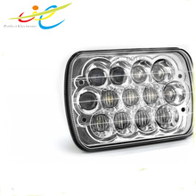 7 inch 5D lens square 65W LED head light high low beam headlamp with blue daytime running light