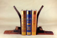 Antique wooden unique Ski Bookends