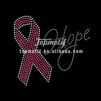 Breast Cancer Awareness Iron Ons Hope Pink Ribbon Rhinestone Transfer