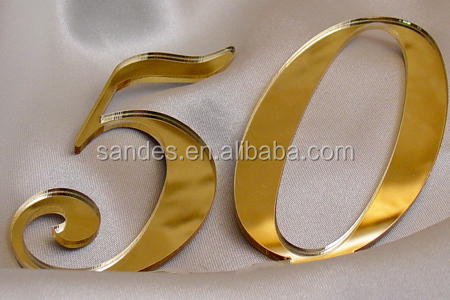 for 50th Wedding Anniversary Plastic Wedding Cake Topper in Goldern Color
