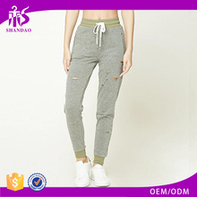 High quality new arrivals lady casual cotton elastic cutting of ladies trousers