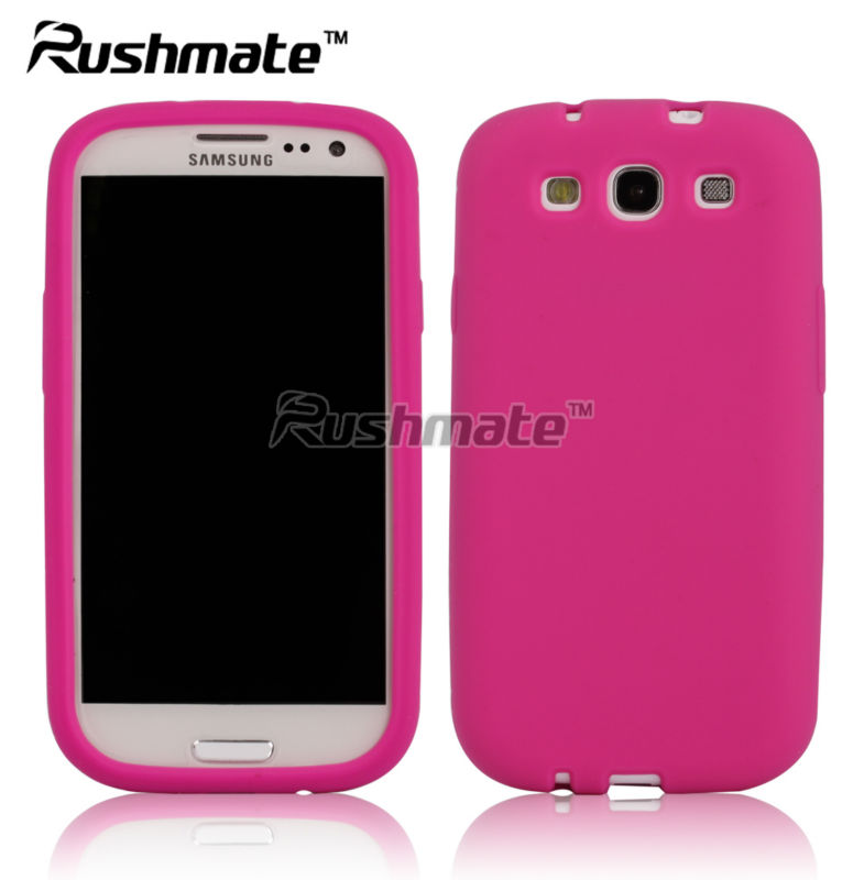 Pink Soft Gel Silicon Rubber Skin Cover Case for Samsung I9300 Galaxy S3 III
