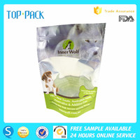 Customized plastic front clear back foil resealable stand up dog food pouch with window