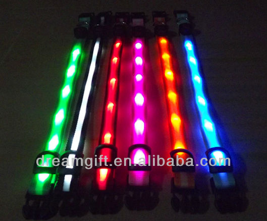 2013.2014 new style second style flashing Led Dog Collar 6 pcs LED light new LED items