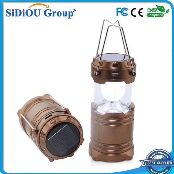 Light High Brightness Rechargeable Camping Lantern 6 LED Solar Lantern Solar Portable Lights with USB and Charger Cable