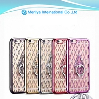 Mobile phone diamond TPU grid stand holder case cover For iPhone 6s 6plus