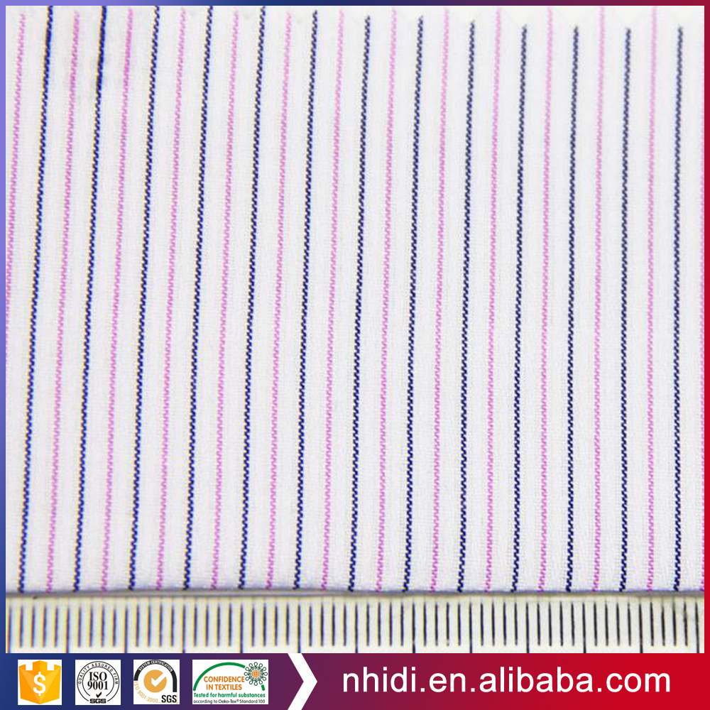 Hebei textile factory 65% polyester 35% cotton yarn dyed stripe shirt fabric