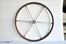 "24"" YACHT HELMS WHEEL MARINE GRADE STAINLESS STEEL - LEATHER BOUND"