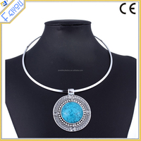 Large Pendant Turquoise Drop Necklace With Silver Choker