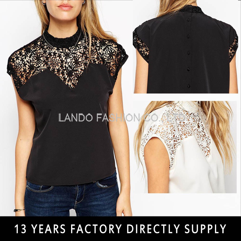 2015 Popular Black Viscose Ladies Tops with Crochet Lace