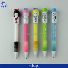 Hot and cute Japanese doll cartoon plastic ball pen for kids