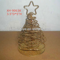"5""H Tabletop Metal Glitter Mini Artificial Golden Christmas Tree"
