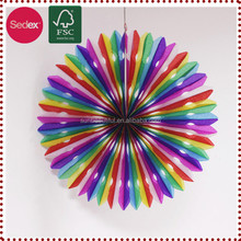 Hanging Decorations Assorted Colors of Hanging Tissue Paper Fan Party Art Party Supply
