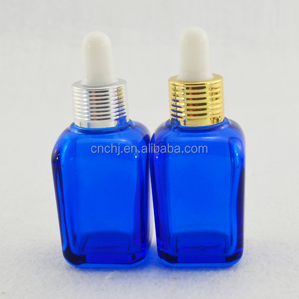 2015 high quality empty blue gold aluminum cap perfume bottle