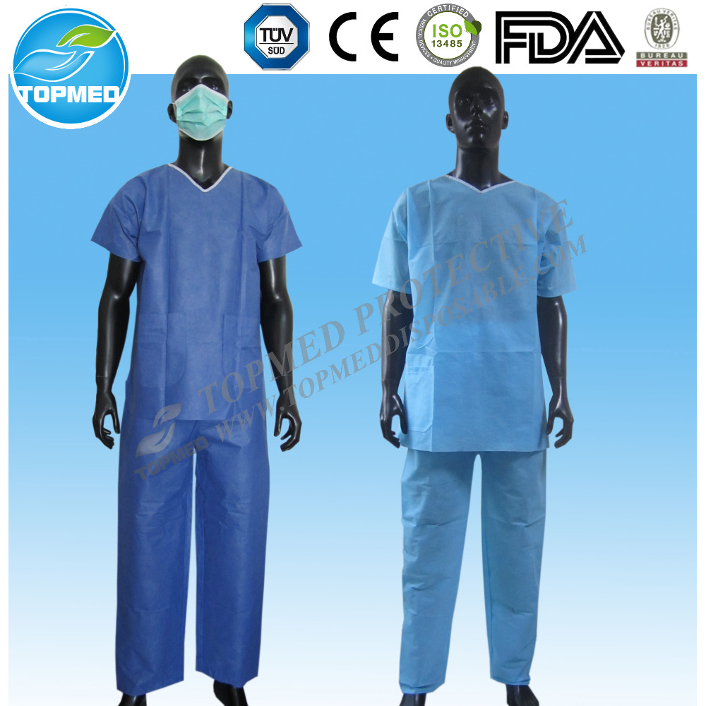Two piece Dress Set shirt and pants Non Woven Disposable Scrub Suit