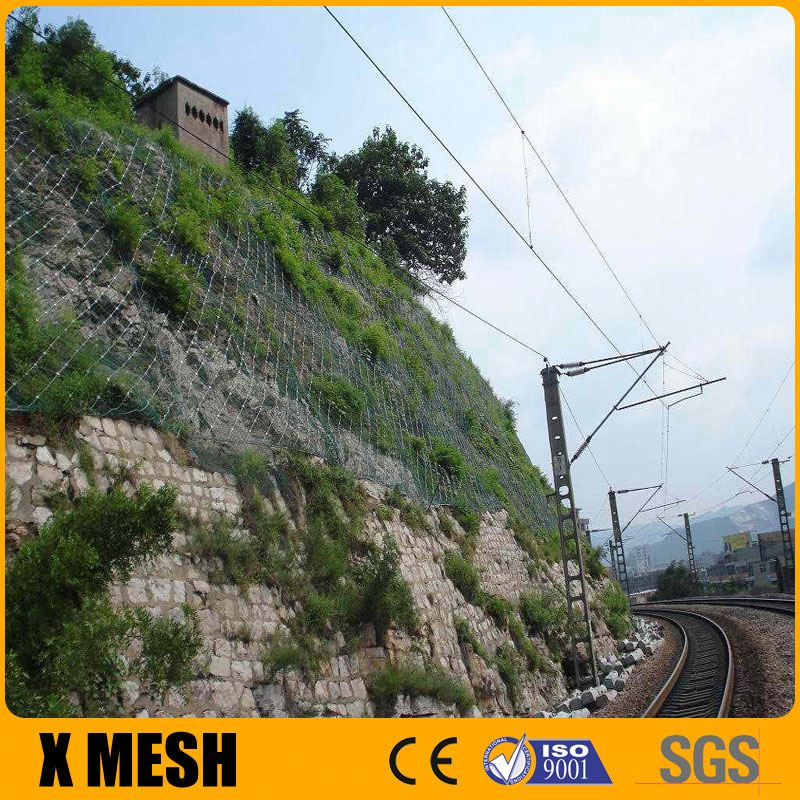 High Tensile 1770Mpa Stainless Steel Wire Rope Mesh Net For rockfall mesh