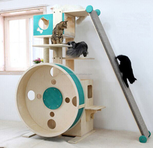 Luxury wooden cat tree condo house