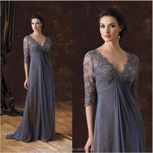 New Fashion Deep V-Neck Gray Lace Chiffon Mother of the Bride Dresses with Sleeves 2016 Custom Made Long Evening Party Dress