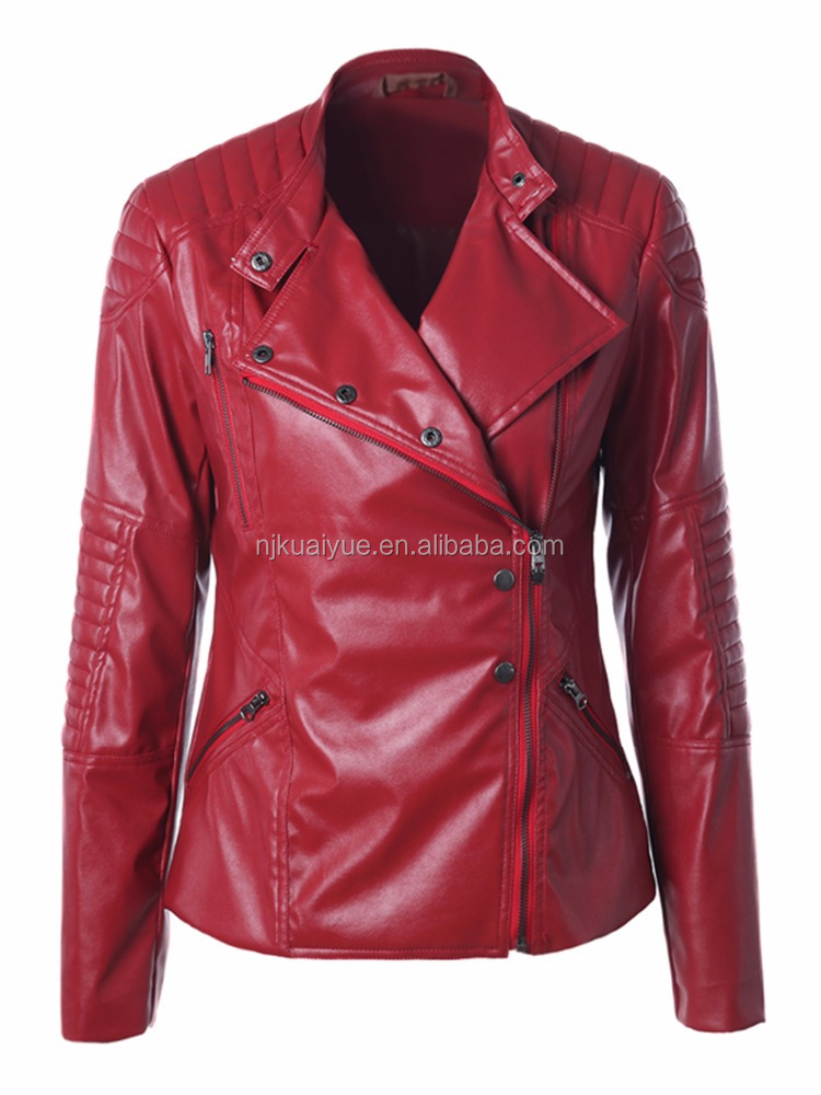 new stylish women sexy red leather jacket Thickening zip motorcycle jacket