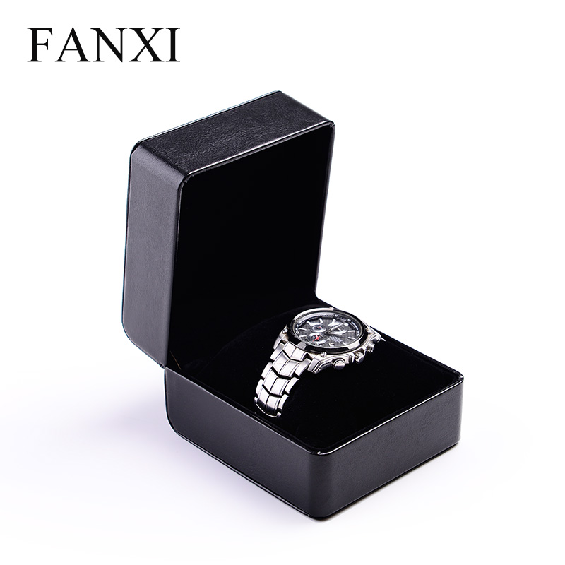 FANXI Custom Logo Black Leather Bracelet Boxes With Velvet Pillow Jewelry Gift Packaging Men Watch Box