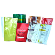 Logo Printed Plastic Foil Side Gusset Coffee bean Powder Herbal Tea Bag With Valve