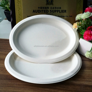 Eco-friendly biodegradable sugarcane bagasse oval plates