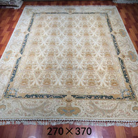 9 x 12 white hand kontted 100% silk on silk persian rug qum