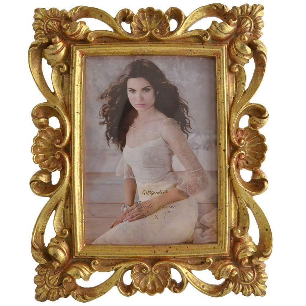 polyresin photo frame 5 x 7 Inch Vintage Picture Frame Gold for Photo