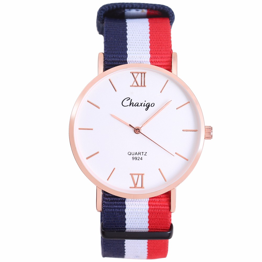Chaxiggo hot selling fabric Fashion rose gold color plating global band vogue gift watch