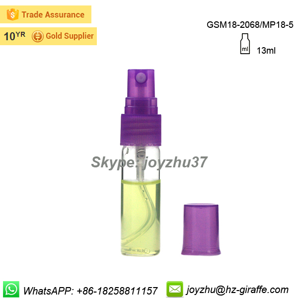 New product 13ml clear glass spray perfume bottle with plastic top