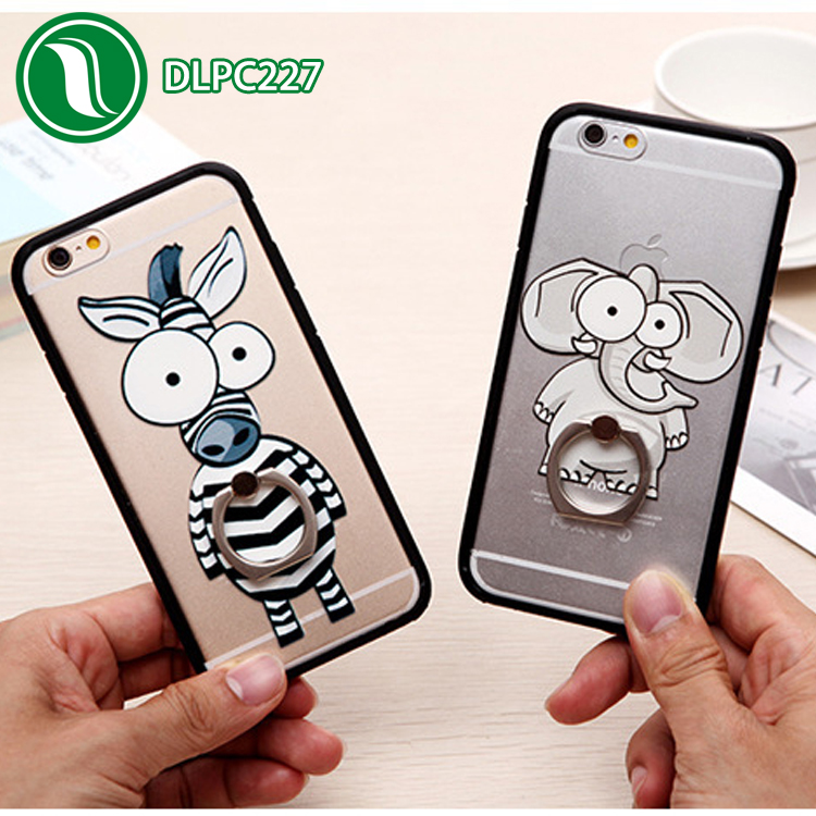 Accessories Animal shaped case phone cover with holder finger ring case Acrylic case for iphone 6s