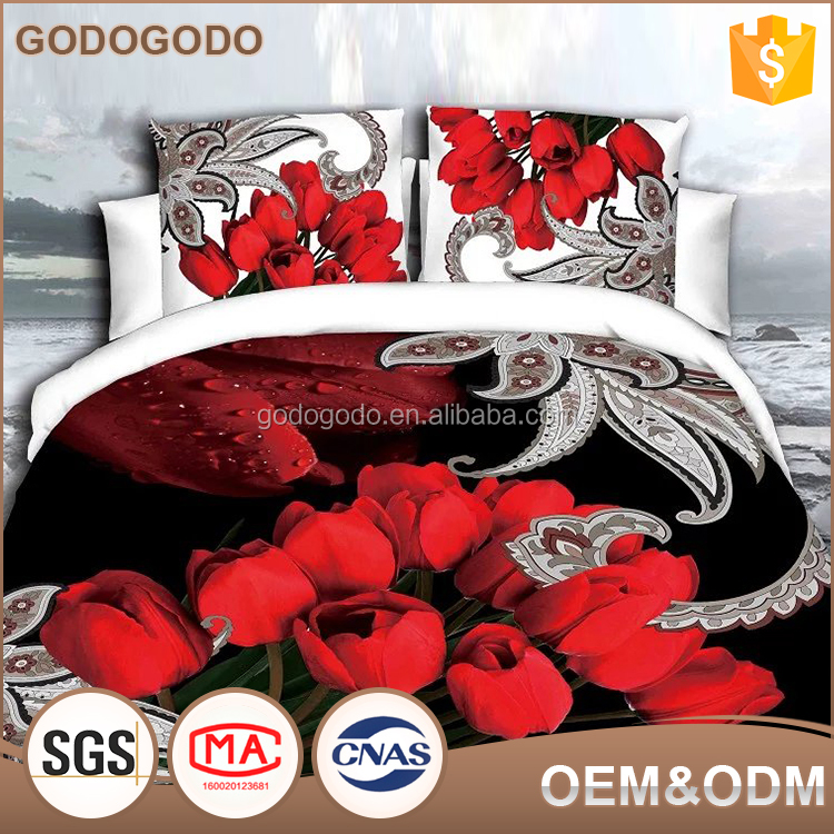 Home Choice Core Competence Luxury 4Pcs Custom Size Rose Pattern Digital Printed Ebay 3D Bedding Set