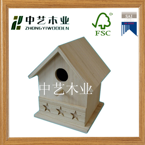 FSC Repurposed wood laser engraved 5 star unfinished decoractive birdhouse mini bird house wholesale