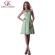 Grace Karin Strapless Sweetheart Chiffon Knee Length Green Patterns For Bridesmaids Dresses CL3473