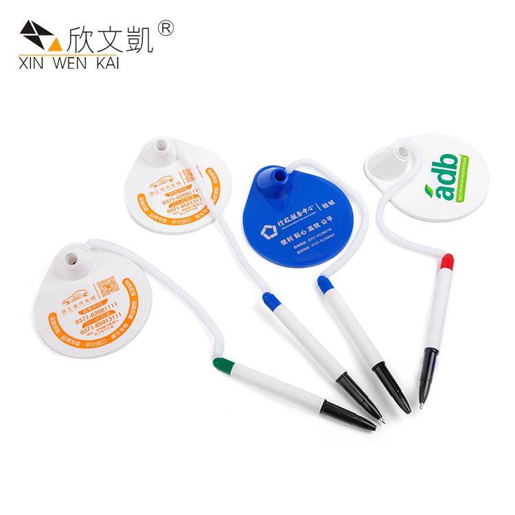 Custom Products Bulk Plastic Branding White Counter Desk Stand Gel Pen With Logo