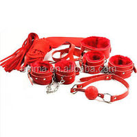 Hot sale red faux fur bondage sex toys top quality leather bondage on sale HK4002