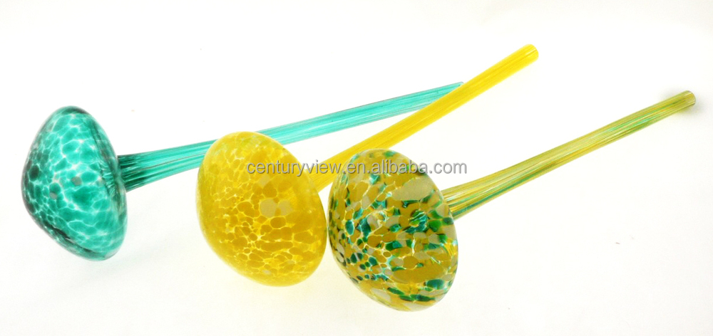 NEW!! Mixed Color Hand Blown Glass Flower Globe Watering Bulb Aqua Globe